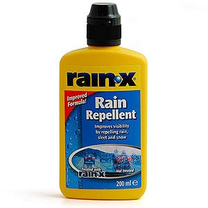 Once the window is % dry, apply Rain-X Original to the outside, and wipe away with a paper towel or newspaper. Do the same thing to the indoor surface of the window, but with Rain-X 2-in-1 (it.